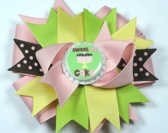 M2MG Pink Brown Sweet As Cake Bottle Cap Boutique Hair Bow Clip