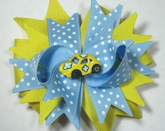 Boutique Yellow and Blue Bug Hair Bow Clip