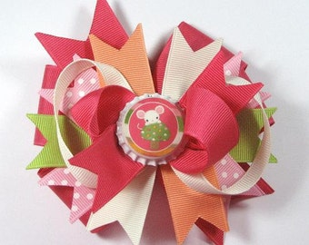 Boutique Mouse Bottle Cap Hair Bow Clip