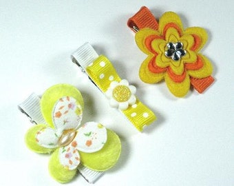 Set 3 Yellow-Orange Hair Clips -Flower-Butterfly