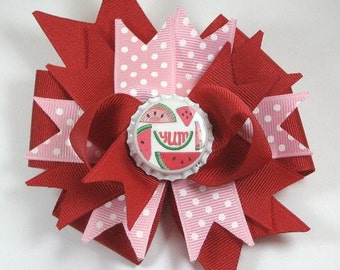 Red Pink Watermelon Bottle Cap Boutique Hair Bow Clip