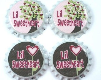 Set 4 sealed Bottle Caps Pink Brown LiL Sweetheart