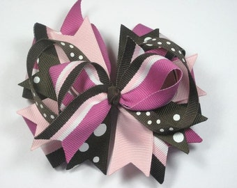 Chocolate Raspberry Brown and Pink Boutique Hair Bow Clip