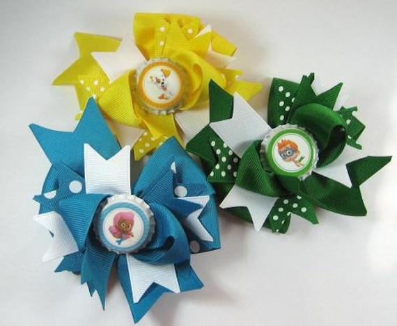 Boutique Bottle Cap Hair Bow Set of 3 Bubble Guppies Small bows