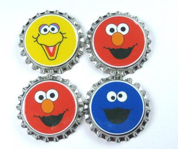 Set 4  Sesame Street sealed bottle caps Elmo Big Bird Cookie Monster