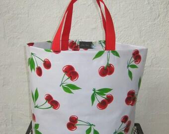 Durable Oilcloth Market Bag - White Cherries