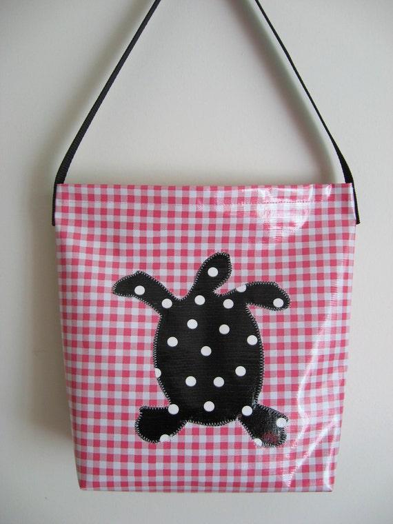 Pink Gingham Bag w/ Turtle Applique