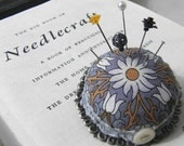 Large Lilies Pincushion Brooch in Grey and Amber