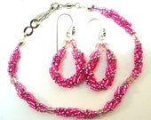 Pink and Lavender Bracelet and Earrings ~ Dressy Bracelet ~ Special Occasion - B0907-02