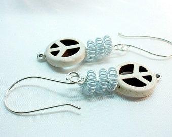Peace Sign Earrings ~ White Earrings ~  White Retro Dangles ~ Boho Peace Signs - E2010-20