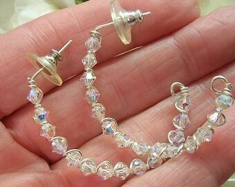 Half Hoop Earrings, Sterling Silver Earrings, Crystal Earrings, Crystal Half Hoops