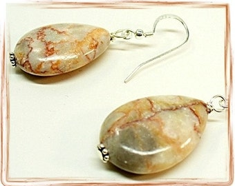 Redline Marble Earrings, Earth Tone Tan Beige, Chunky Earrings, Plus Size Earrings, Almond Shape - E0907-12