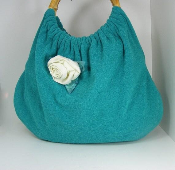 ON SALE, Hobo Purse, Tote, Soft, Aqua Blue/Green, Bamboo Handles, Cream Rose Flower  Attachment, Medium