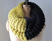 Super Snuggly Chunky knit cowl black yellow