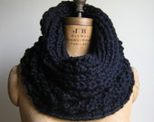 Black Chunky knit Cowl Infinity scarf . Incognito.
