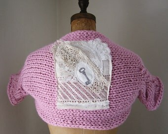 SALE. Pale Pink knit shrug With Vintage Lace back. Altered Couture.