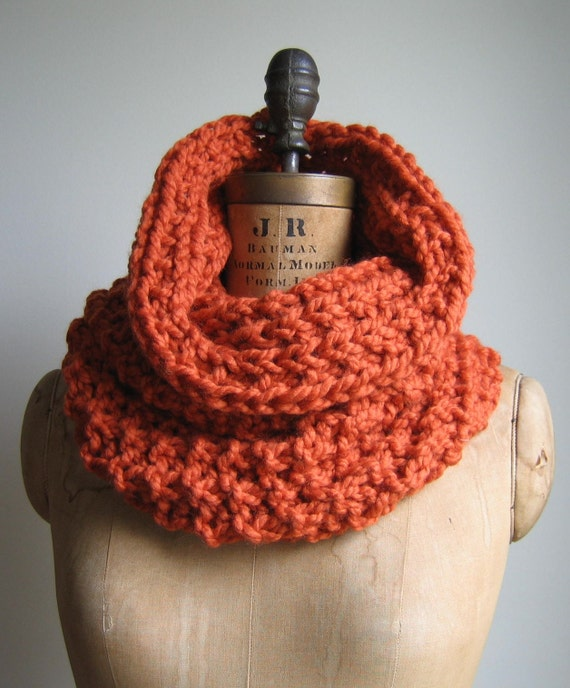 The Incognito Chunky knit cowl  Orange