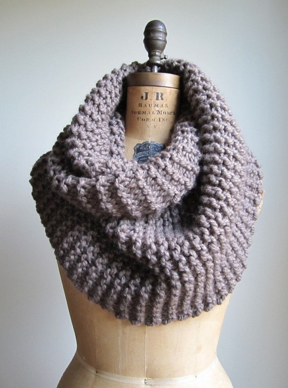 Super Snuggly Chunky knit cowl taupe brown mocha Infinity scarf.