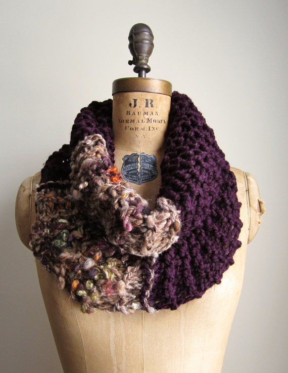 Bohemian knit cowl Plum. Persimmon. Lime.
