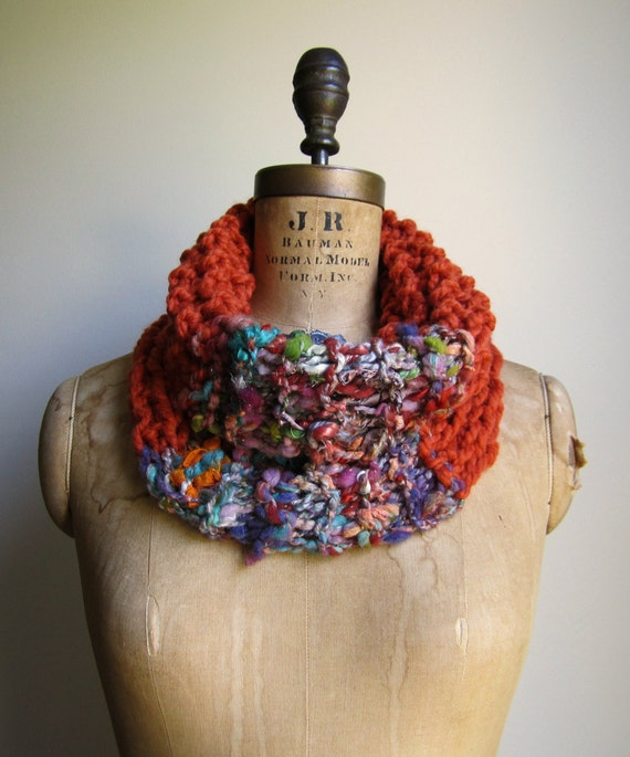 RESERVED Bohemian knit cowl Orange. Teal. Purple.