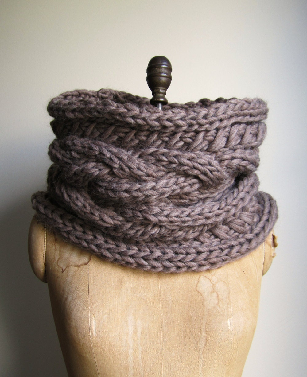 Knitted Infinity Cowl Pattern : Oversized Cable knit cowl Walnut. Infinity scarf by Happiknits