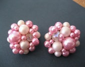 Vintage  FAUX PEARL EARRINGS, Pink and White, Clip