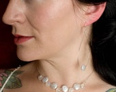 Moonstone and flat coin pearl bridal necklace