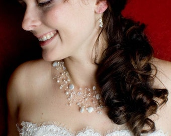Simple drop bridal earrings