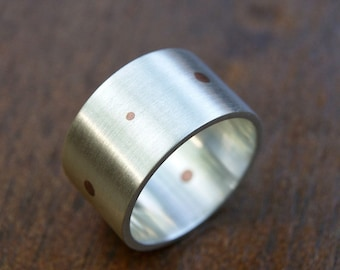 Modern Dots, a silver and copper Inlay ring, unisex wide band (made to order)