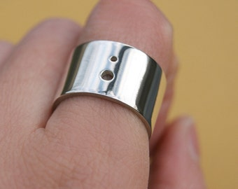 Pierced Ring, Made to Order, wide band, unisex shiny ring