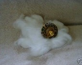 Hand painted mini 6.5 inch drop spindle kit w\/ white angora fur