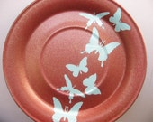 sky blue butterflies - plate painted in hues of red, copper, gold - perfect for easter and spring