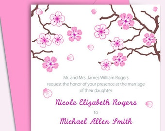 Wedding Invitation Package - Apple Blossoms - Customized - DIY Printable