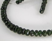 AA Zambian Emerald Faceted Roundels Graduated Strand 4mm - 7mm 12.5 inch length (75 ctw)