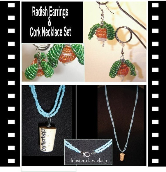 Radish Earrings and Butterbeer Cork Necklace Set with Bonus (etsy)