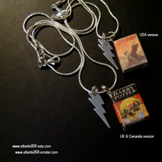 Harry Potter Deathly Hallows Mini Book Necklace USA or UK version (etsy)