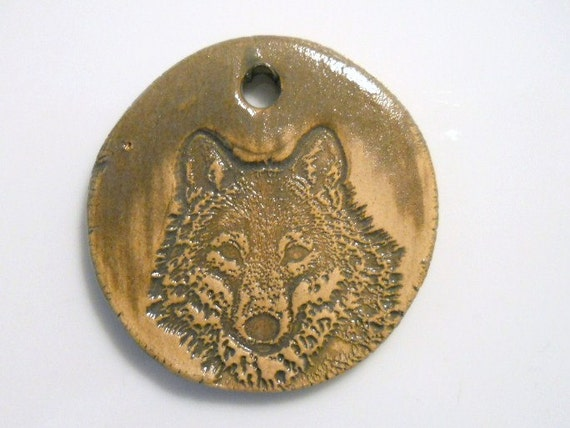 GREY WOLF pottery clay focal bead pendant
