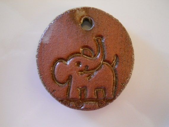 ELEPHANT stonewear clay pendant bead