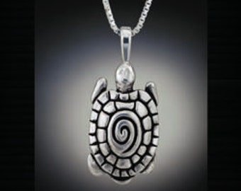 Turtle Necklace,  Re-purposed Sterling Silver Pendant, Recycled silver