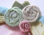 Spring Buds Green Pink and Ivory Rosettes with Felt Leaves on a Shimmery Robins Egg Blue Headband- All sizes available