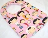 Baby Girl Bib - KOKESHI DOLLS Handmade Minky Baby Bib