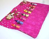 Ready To Ship - Crayon Roll - GIGGLE MONKEY Crayon Roll Up - Kids - Stocking Stuffer