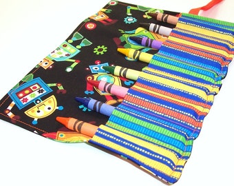 Crayon Roll - TOY ROBOTS Crayon Roll Up - Stocking Stuffer