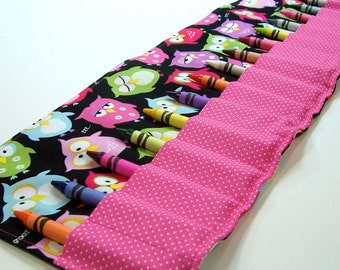 Crayon Roll - SNOOZING OWLS (16 crayon count) - Stocking Stuffer - Kids