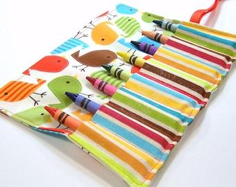 Crayon Roll - AUTUMN BIRDIES Crayon Roll Up - Stocking Stuffer - Kids