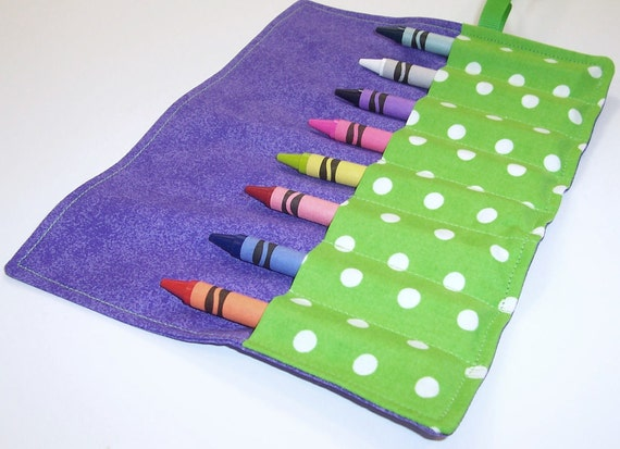 Crayon Roll - PURPLE FUSION Crayon Roll Up -Stocking Stuffer - Party Favor - Kids