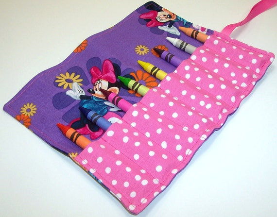 Crayon Roll - PURPLE MINNIE MOUSE Crayon Roll Up