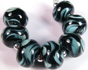 Lampwork beads, Lampwork Glass beads, BBGLASSART - Lampwork Boro Beads, Turquoise Onyx Prisms