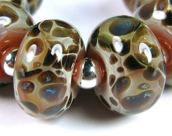 Mossy Pebbles - BBGLASSART - Lampwork Boro Beads
