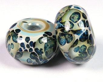 Lampwork Beads, Artisan Glass Beads, BBGLASSART, Lampwork Bead Pair, Sea Stone